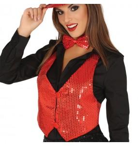 Gilet paillettes rouge femme