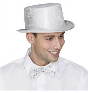 Chapeau Haut de Forme Argent adulte