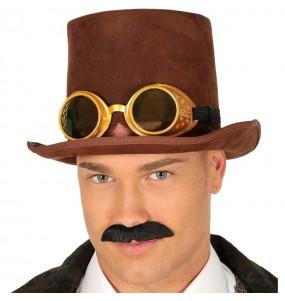 Chapeau Steampunk Marron avec lunettes
