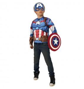 Déguisement Captain America poitrine musclée garçon