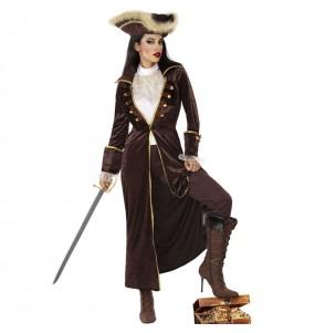 Déguisement Capitaine pirate marron femme