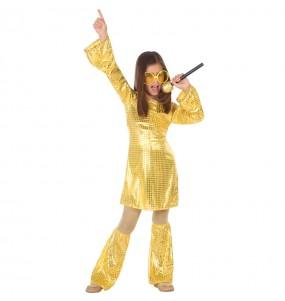 Déguisement Disco doré fille