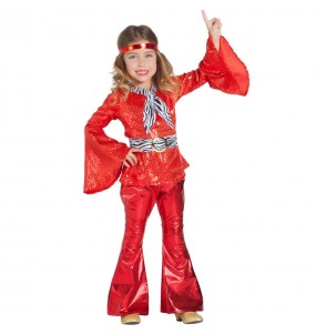 Déguisement Disco Rouge fille