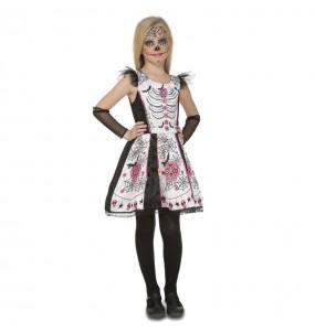 Déguisement Squelette Catrina Blanc pour fille