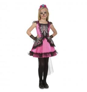 Déguisement Squelette Catrina Rose pour fille