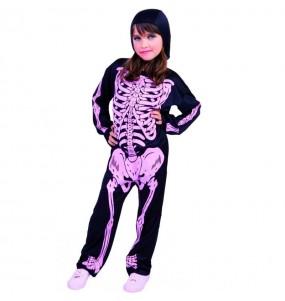 Déguisement Squelette avec os roses fille