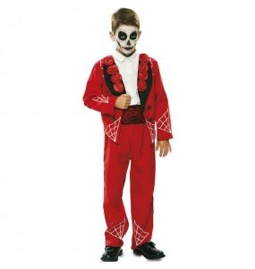 Déguisement Squelette méxicain rouge garçon