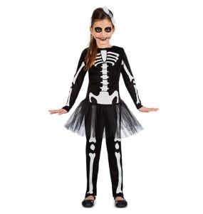 Déguisement Squelette noir avec tutu fille