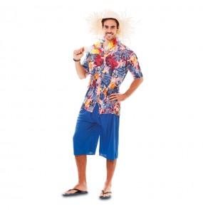 Déguisement Hawaïen Bleu pour homme