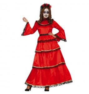 Déguisement Catrina Mexicaine couleur rouge femme