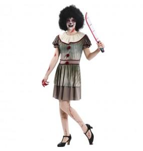 Déguisement Clown diabolique grise femme