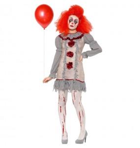 Déguisement Clown Pennywise gris femme