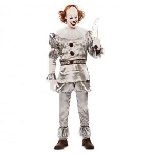 Déguisement Clown diabolique gris homme