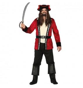 Déguisement Pirate Tête de Mort Rouge pour homme