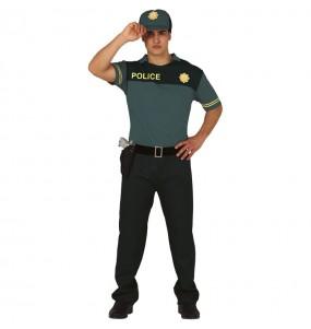 Déguisement Policier Vert homme