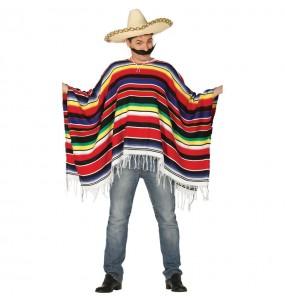 Déguisement Poncho mexicain à rayures homme