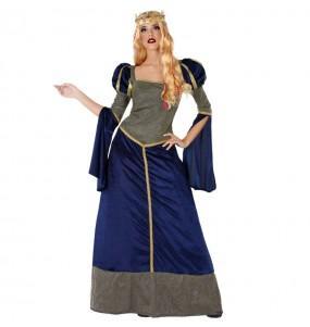 Déguisement Princesse Médiévale bleue pour femme