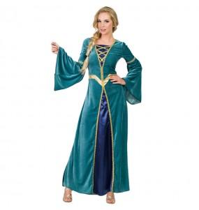 Déguisement Princesse Médiévale Verte pour femme