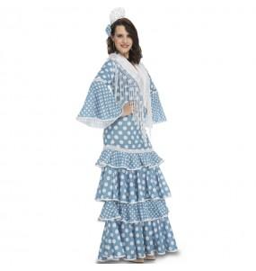 Déguisement Danseuse Flamenco bleu clair femme