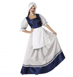 Déguisement Tavernière médiévale bleue femme