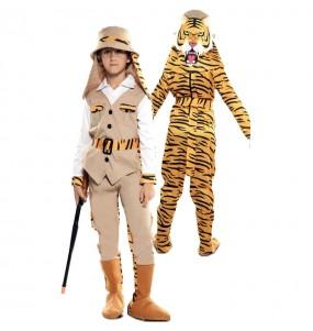 Déguisement double Chasseur et Tigre enfant