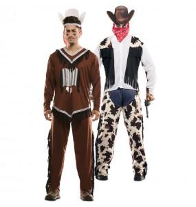 Déguisement double Indien et Cowboy adulte