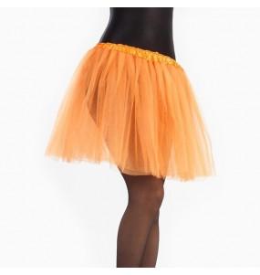 Falda tutú naranja mujer