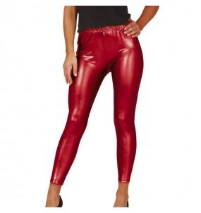 Leggings rouges effet métallique