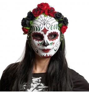 Masque Jour des Morts avec fleurs