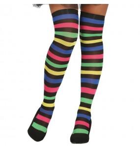 Bas à rayures multicolore pour femme