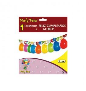 Guirnalda con Globos - Feliz Cumpleaños