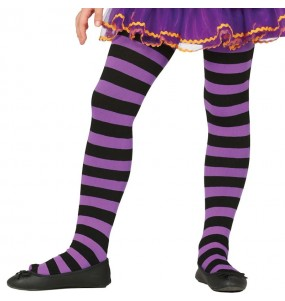 Collants violets à rayures pour fille