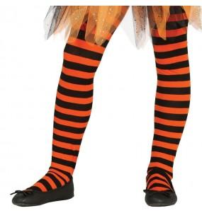 Collants orange à rayures pour fille