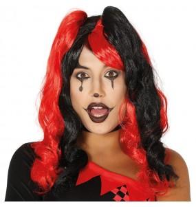 Perruque Arlequin rouge et noire
