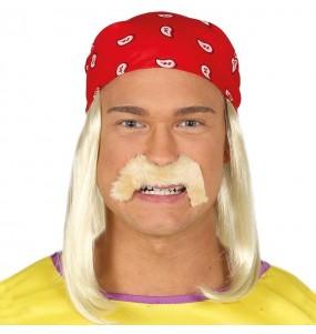 Perruque Hulk Hogan avec moustache