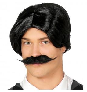 Perruque Gomez Addams avec moustache