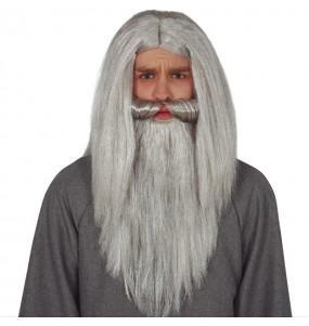 Perruque magicien à barbe grise
