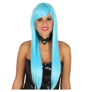 Perruque longue lisse bleue