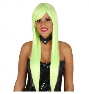 Perruque longue lisse verte