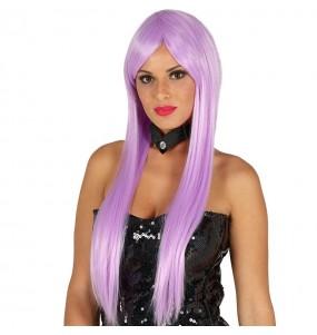 Perruque longue lisse violette