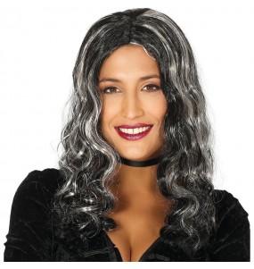 Perruque Chevelure noire avec mèches Halloween