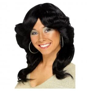 Perruque noire années 70 femme