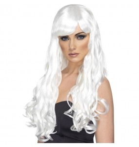 Perruque ondulée blanche