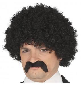 Perruque Pulp Fiction noire avec moustache