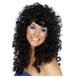 Perruque frissée longue noire femme