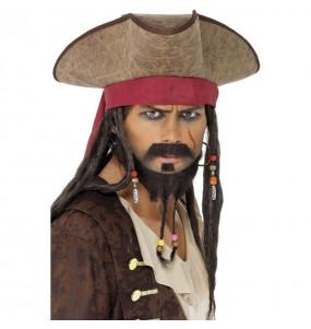 Chapeau avec perruque Pirate Jack Sparrow
