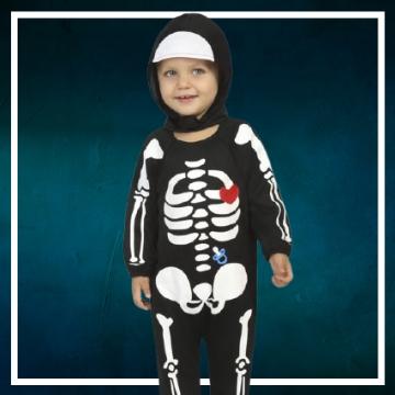 Achetez en ligne les déguisements Halloween d'squelette taille bébé