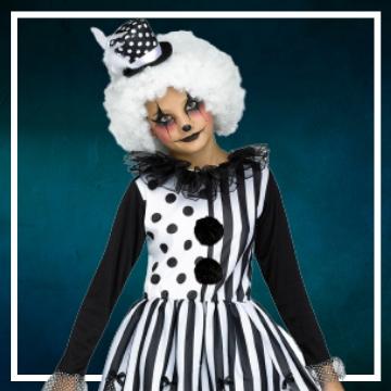 Achetez en ligne les costumes filles pour devenir une clown méchante