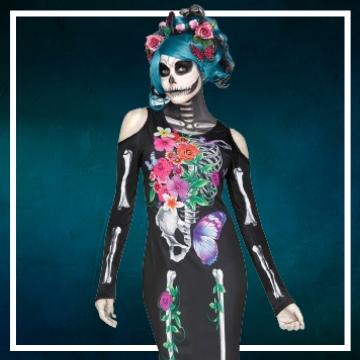 Achetez en ligne les costumes femmes pour devenir une squelette
