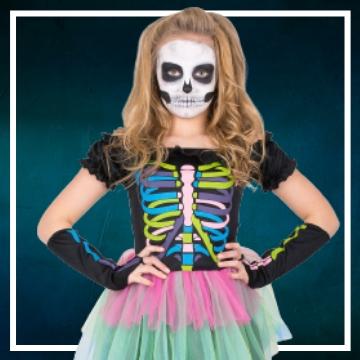 Achetez en ligne les costumes filles pour devenir une squelette